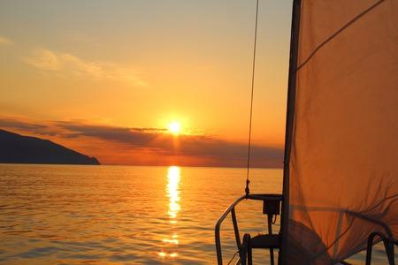 sailing yacht: sunrise aboard a sailing yacht