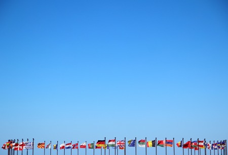 world flags: international flags against the sky Stock Photo