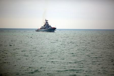 horizont: modern Russian ship on the high seas