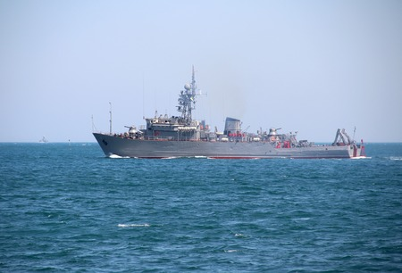 menace: Russian military trawler at sea on exercise
