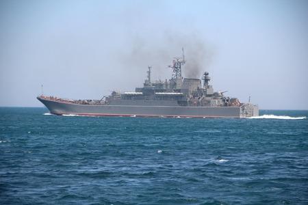 the amphibious: warship - Russian military ship for amphibious assault