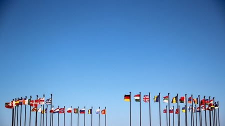 international flags: Background - International European flags in the wind Stock Photo