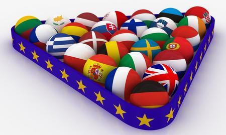 billiard: Concept - The European Union in the form of pyramids of billiard balls