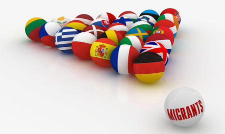 Concept - The European Union in the form of pyramids of billiard balls with the problem of migrants Stock Photo