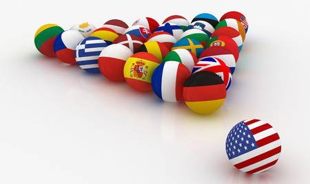 threat: The European Union in the form of pyramids of billiard balls - before the US threat - 3D illustration