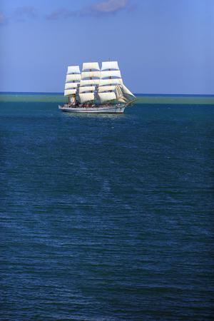 Beautiful old sailing ship in the sea