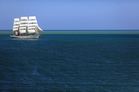 Beautiful Tall ship in the open sea