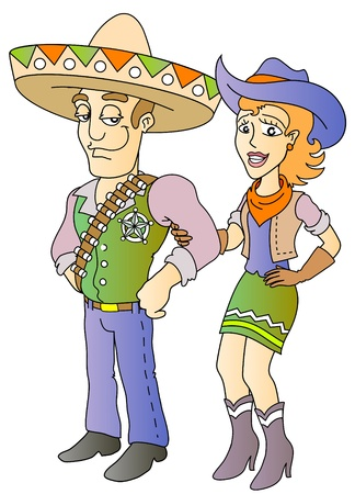 cowboy and cowgirl; cartoon western hero, vector illustration Vector