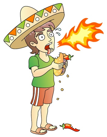 Hot Chili Peppers; Hot Burrito; young man; food test; vector illustration