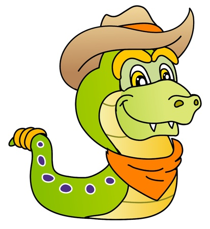 funny snake, wild west style, cowboy costume,