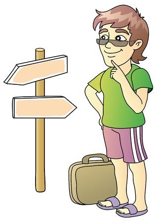 reiziger: toeristische, wijzer, kruispunt, vector illustratie