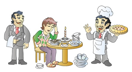 taster, food tasting, italian kitchen, mafia, pizza Illustration