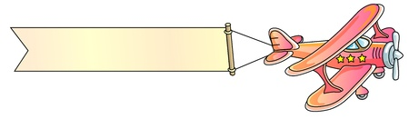 aeroplane, banner, biplane, vector illustration Vettoriali