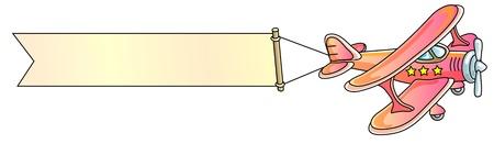 Plane Pilot: avi�n, bandera, biplano, ilustraci�n vectorial
