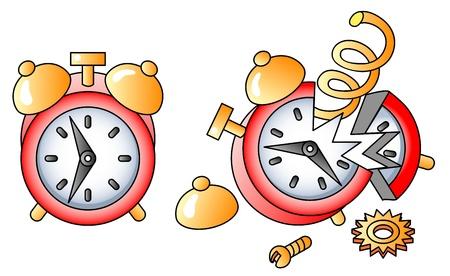 alarmclock: broken alarm-clock; icon; vectpr illustration Illustration