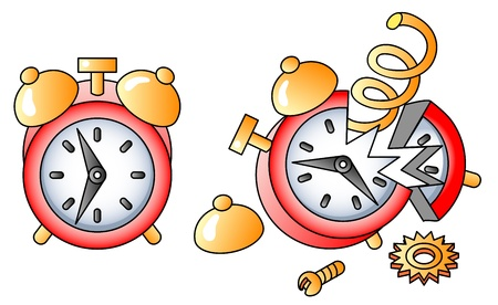 broken alarm-clock; icon; vectpr illustration Vettoriali
