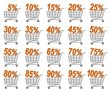 online trading: shoppingcart and discount; sale; vector illustration   Illustration