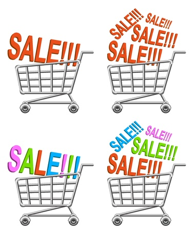 push cart: shoppingcart and sale; isolated vector illustration