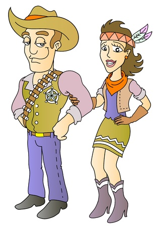 sheriff and beauty; isolated vector illustration Vector