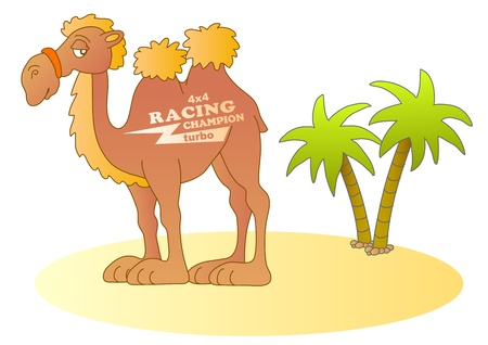 cartoon camel: funny desert racer; vector illustration