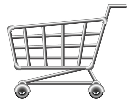 supermarket checkout: shoppingcart; sale; isolated vector illustration