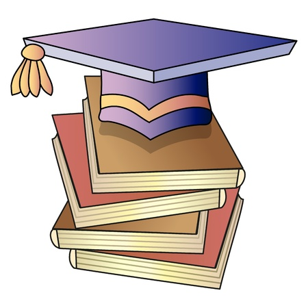 academic hat and books; vector illustration Illustration