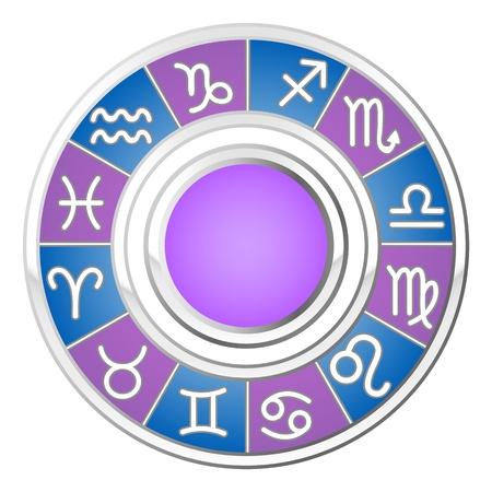 rueda de la fortuna: la astrolog�a c�rculo, todos los signos del zod�aco, ilustraci�n vectorial Vectores