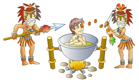 indigenous: victim and cannibals, soup from person, humour, vector illustration