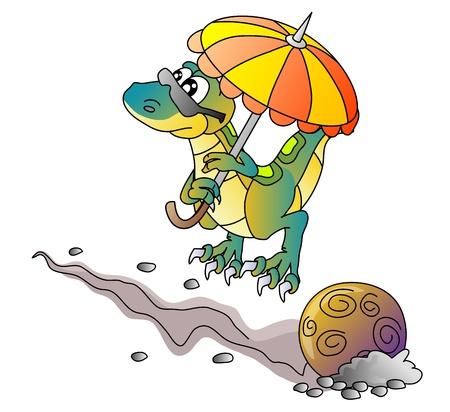 dinosaur and comet, vector illustration Vector