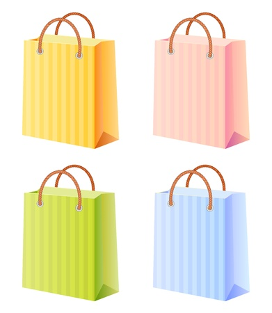 shopping bags set; multicolor; vector illustration; isolated