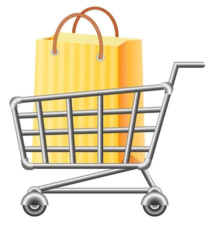 super market: shoppingcart and shopping bag; vector illustration; isolated