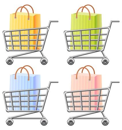 shoppingtrolley: shoppingcart and shopping bag, illustration, isolated