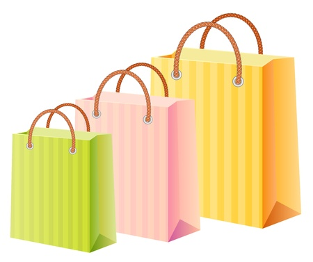 shopping bags set, multicolor Vector