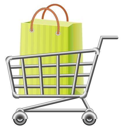 supermarket shopping cart: cesta de la compra y la bolsa de la compra Vectores