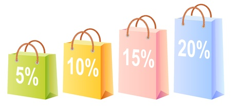 shopping bags set; multicolor; sale; discount; vector illustration; isolated Vector