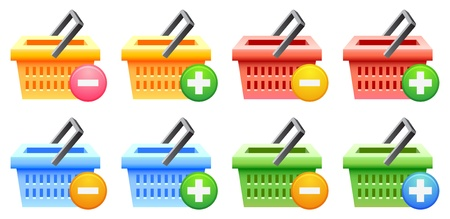 shopping basket set; multicolor; sale; vector illustration; isolated Stock Vector - 14223189