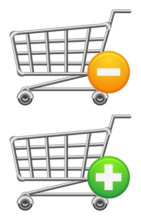 supermarket trolley: shopping cart icon, button, sale,