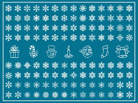 Christmas Themes, snowflakes and christmas icon, new year, winter Set, shape Vector