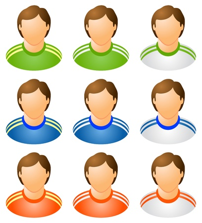 Sport human icons set, varicoloured,  isolated illustration Illustration