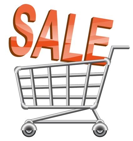 shoppingtrolley: shoppingcart, sale, isolated illustration
