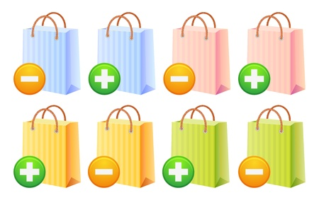 add button: shopping bags set, multicolor, sale, discount, illustration, isolated
