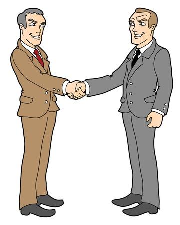 onestà: due businessmans, stretta di mano; concetto di business, illustrazione vettoriale isolato