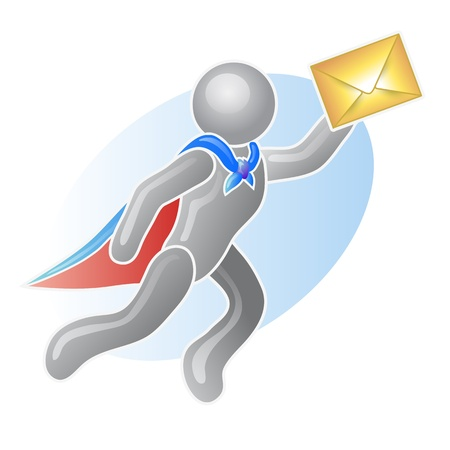 mail man: Un hombre de correo que vuela, ilustraci�n vectorial Vectores