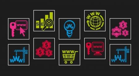 Web-design icon set, web-studio icon set illustration Vector