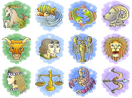 Zodiac Icon Set, Illustration Vector