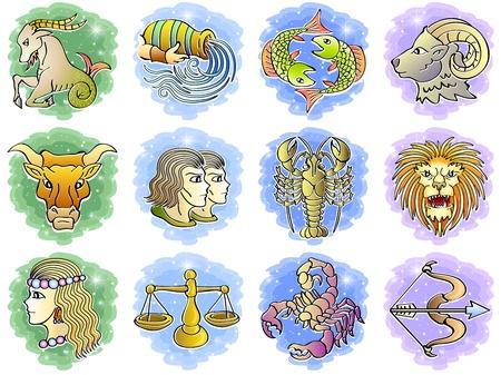 constelaciones: Zodiac Icon Set, Ilustraci�n