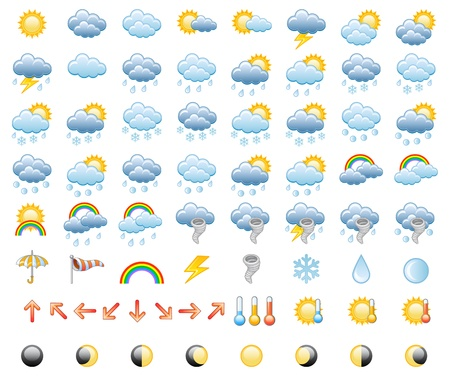cloudy weather: Meteorology Icons Set
