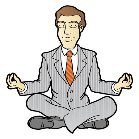 Empresario es meditar y relajarse en posición de loto