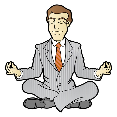Businessman is meditating and relaxing in lotus pose Vettoriali