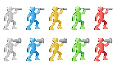 People searching with spyglass  and shouting in megaphone. Group of people in different colors. Ilustração